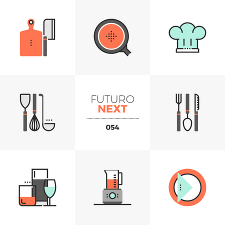 Semi-flat icons set of kitchen utensils, dishware and glassware. Unique color flat graphics elements with stroke lines. Premium quality vector pictogram concept for web, logo, branding, infographics.