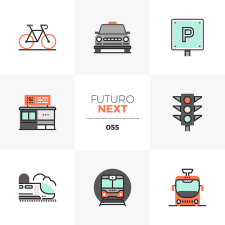 Modern flat icons set of various city transport, commute transportation. Unique color flat graphics elements with stroke lines. Premium quality vector pictogram concept for web, icon, branding, info-graphics.