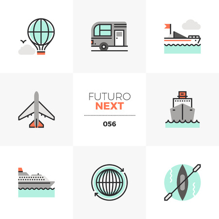 Modern flat icons set of transportation vehicles, traveling transport. Unique color flat graphics elements with stroke lines. Premium quality vector pictogram concept for web, icon, branding, info-graphics. Illustration