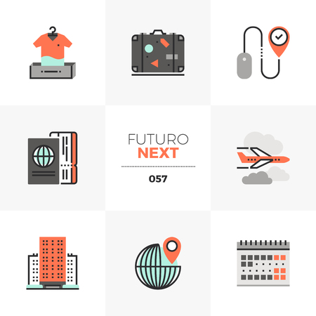Modern flat icons set of air travel planning, online booking hotel. Unique color flat graphics elements with stroke lines. Premium quality vector pictogram concept for web, logo, branding, infographics.