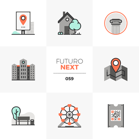 Modern flat icons set of city architecture, amusement park leisure. Unique color flat graphics elements with stroke lines. Premium quality vector pictogram concept for web, logo, branding, infographics.