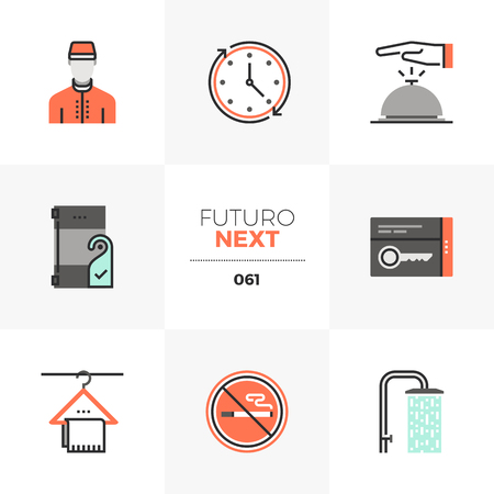 Modern flat icons set of hotel services, guest room facilities. Unique color flat graphics elements with stroke lines. Premium quality vector pictogram concept for web, logo, branding, infographics. Illustration