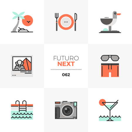 Modern flat icons set of resort vacation trip to seaside in summer. Unique color flat graphics elements with stroke lines. Premium quality vector pictogram concept for web, logo, branding, infographics. Illustration