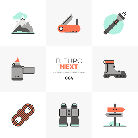 Modern flat icons set of hiking equipment tools, outdoor activity. Unique color flat graphics elements with stroke lines. Premium quality vector pictogram concept for web, logo, branding, infographics. Illustration