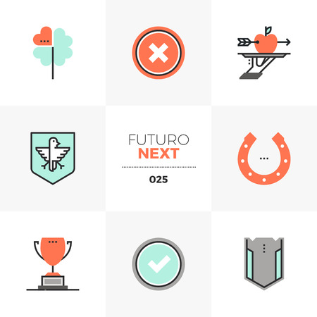 Semi flat icons set of business metaphors and winning lucky shot illustration.