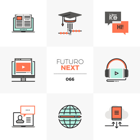 Modern flat icons set of online course program, mobile video lecture. Unique color flat graphics elements with stroke lines. Premium quality vector pictogram concept for web, logo, branding, infographics.