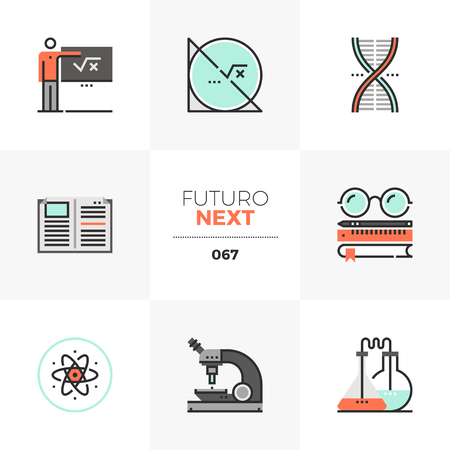Modern flat icons set of STEM education course, applied science lecture. Unique color flat graphics elements with stroke lines. Premium quality vector pictogram concept for web, logo, branding, infographics.
