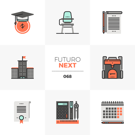 Modern flat icons set of school education costs, university campus. Unique color flat graphics elements with stroke lines. Premium quality vector pictogram concept for web, logo, branding, infographics.