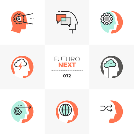 Modern flat icons set of emotional intelligence, mind control progress.