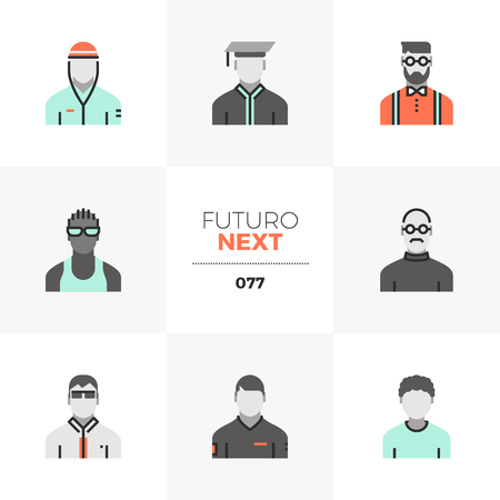 Modern flat icons set of male avatar diversity, various men character. Unique color flat graphics elements with stroke lines. Premium quality vector pictogram concept for web, logo, branding, infographics.