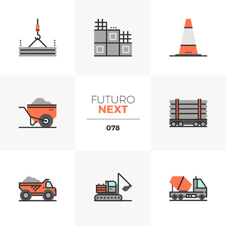 Modern flat icons set of heavy machines, construction transport. Unique color flat graphics elements with stroke lines. Premium quality vector pictogram concept for web, logo, branding, infographics.