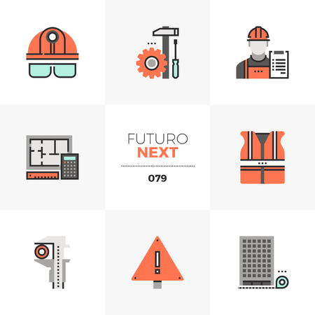 Modern flat icons set of civil engineering, construction site safety. Unique color flat graphics elements with stroke lines. Premium quality vector pictogram concept for web,   branding, infographics.