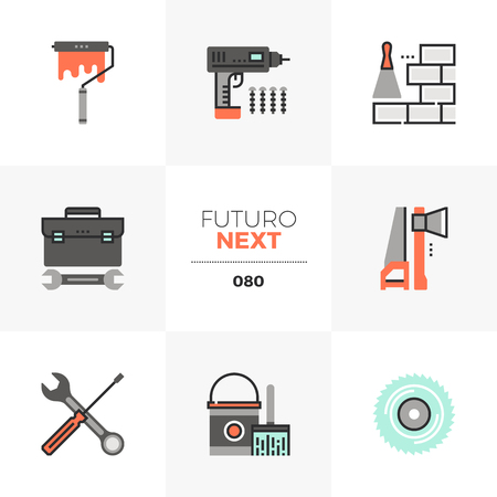 Modern flat icons set of building construction tools, repair equipment. Unique color flat graphics elements with stroke lines. Premium quality vector pictogram concept for web, logo, branding, infographics.