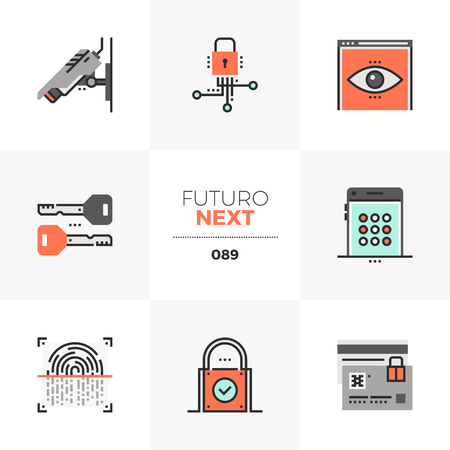 Modern flat icons set of privacy protection, surveillance security. Unique color flat graphics elements with stroke lines. Premium quality vector pictogram concept for web, logo, branding, infographics.