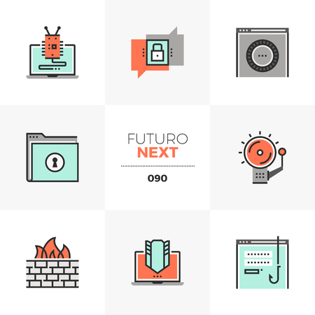 Modern flat icons set of internet security, computer network protection. Unique color flat graphics elements with stroke lines. Premium quality vector pictogram concept for web, logo, branding, infographics.