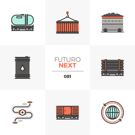 Modern flat icons set of fossil fuel transportation, heavy transport. Unique color flat graphics elements with stroke lines. Premium quality vector pictogram concept for web, logo, branding, infographics. Illustration