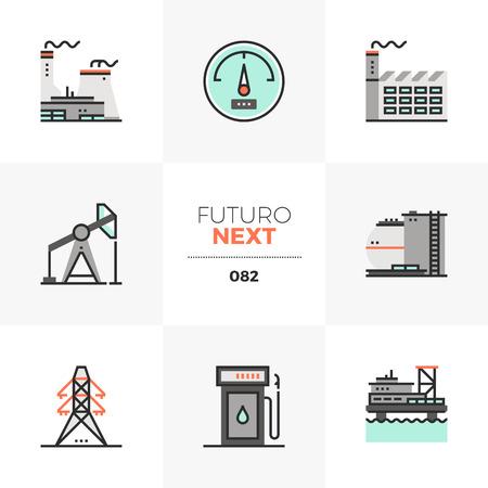 Modern flat icons set of nuclear power plant, offshore oil platform. Unique color flat graphics elements with stroke lines. Premium quality vector pictogram concept for web, logo, branding, infographics. Ilustrace