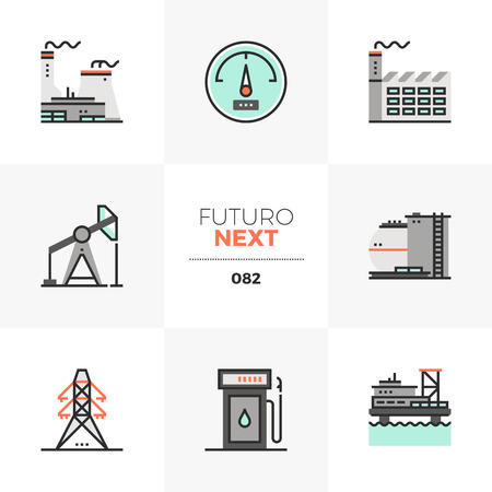 Modern flat icons set of nuclear power plant, offshore oil platform. Unique color flat graphics elements with stroke lines. Premium quality vector pictogram concept for web, logo, branding, infographics. Illustration