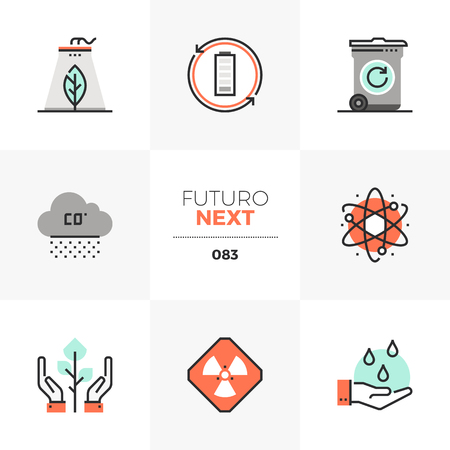 Modern flat icons set of global pollution, green nature conservation. Unique color flat graphics elements with stroke lines. Premium quality vector pictogram concept for web, logo, branding, infographics. Illustration