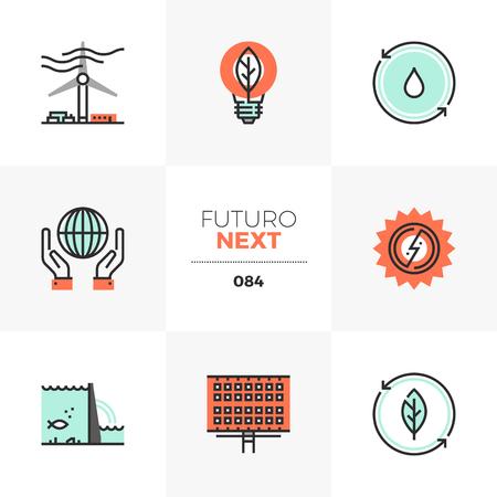 Modern flat icons set of renewable energy source, alternative energy. Unique color flat graphics elements with stroke lines. Premium quality vector pictogram concept for web, logo, branding, infographics. Ilustrace