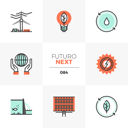 Modern flat icons set of renewable energy source, alternative energy. Unique color flat graphics elements with stroke lines. Premium quality vector pictogram concept for web, logo, branding, infographics. Illustration