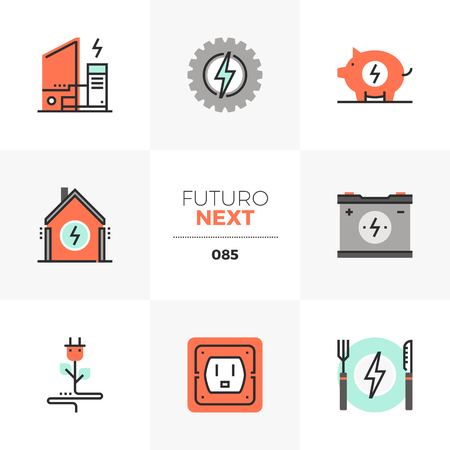 Modern flat icons set of home electricity, power charge station. Unique color flat graphics elements with stroke lines. Premium quality vector pictogram concept for web,    branding, infographics. Ilustrace