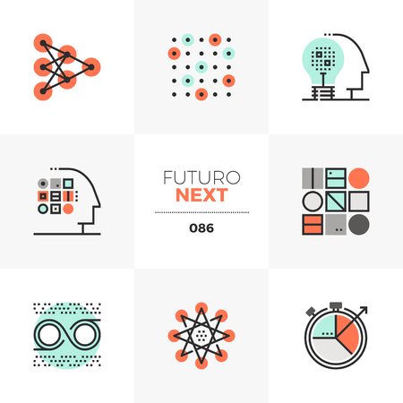 Modern flat icons set of machine learning process, neural intelligence. Unique color flat graphics elements with stroke lines. Premium quality vector pictogram concept for web, logo, branding, infographics.