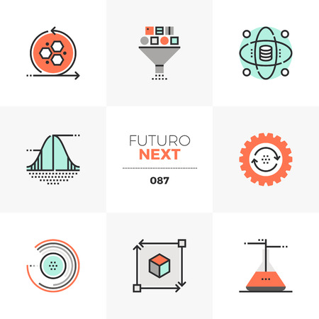 Modern flat icons set of data science technology, statistical analysis. Unique color flat graphics elements with stroke lines. Premium quality vector pictogram concept for web, logo, branding, infographics.