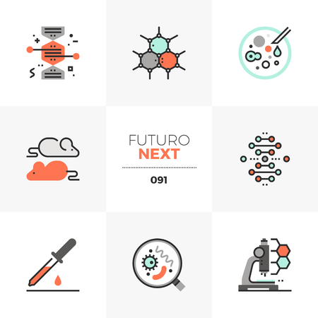 Modern flat icons set of bio technology process, gene modification. Unique color flat graphics elements with stroke lines. Premium quality vector pictogram concept for web, logo, branding, infographics.