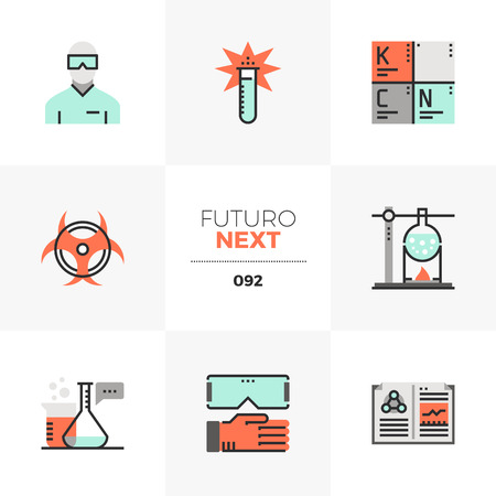 Modern flat icons set of chemistry lab glassware, protective wear. Unique color flat graphics elements with stroke lines. Premium quality vector pictogram concept for web, logo, branding, infographics. Illustration