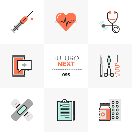 Modern flat icons set of healthcare service, doctor prescription. Unique color flat graphics elements with stroke lines. Premium quality vector pictogram concept for web, logo, branding, infographics.