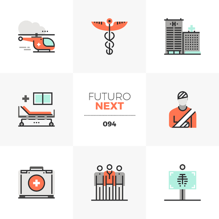Modern flat icons set of ambulance helicopter, medical center service. Unique color flat graphics elements with stroke lines. Premium quality vector pictogram concept for web, logo, branding, infographics. Illustration
