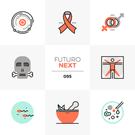 Modern flat icons set of human creation, life evolution and death. Unique color flat graphics elements with stroke lines. Premium quality vector pictogram concept for web, logo, branding, infographics.