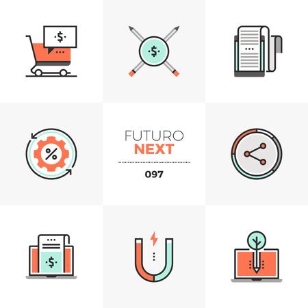 Modern flat icons set of digital content marketing, online sales. Unique color flat graphics elements with stroke lines. Premium quality vector pictogram concept for web, logo, branding, infographics.