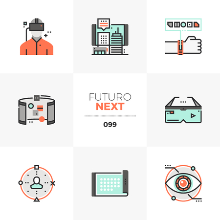 Modern flat icons set of virtual reality headset, future technology. Unique color flat graphics elements with stroke lines. Premium quality vector pictogram concept for web, logo, branding, infographics. Ilustração