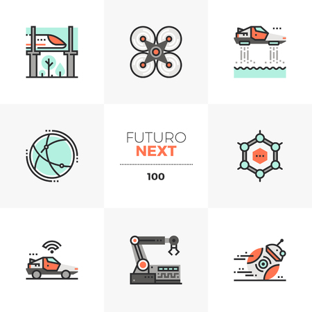 Modern flat icons set of future technologies, robotics automation. Unique color flat graphics elements with stroke lines. Premium quality vector pictogram concept for web, logo, branding, infographics.
