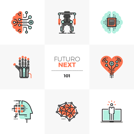 Modern flat icons set of artificial intelligence, computer human synthesis. Unique color flat graphics elements with stroke lines. Premium quality vector pictogram concept for web, logo, branding, infographics. Ilustrace