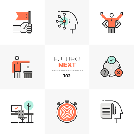 Modern flat icons set of individual productivity, business person goals. Unique color flat graphics elements with stroke lines. Premium quality vector pictogram concept for web, logo, branding, infographics.