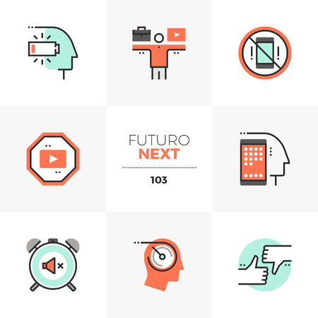Modern flat icons set of work life balance, social media distraction. Unique color flat graphics elements with stroke lines. Premium quality vector pictogram concept for web, logo, branding, infographics.