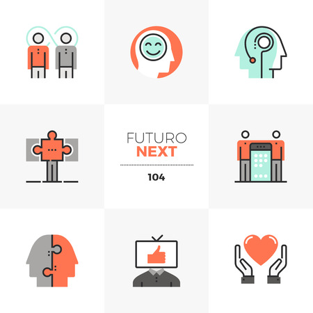 Modern flat icons set of synergy mind, success business partnership. Unique color flat graphics elements with stroke lines. Premium quality vector pictogram concept for web, logo, branding, infographics.