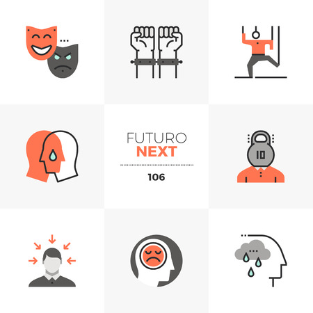 Modern flat icons set of mental problem, emotional stress, empathy. Unique color flat graphics elements with stroke lines. Premium quality vector pictogram concept for web, logo, branding, infographics.