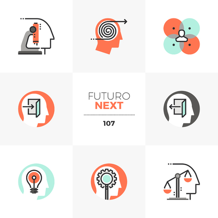 Modern flat icons set of mental process, human mind workflow. Unique color flat graphics elements with stroke lines. Premium quality vector pictogram concept for web, logo, branding, infographics.