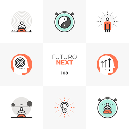 Modern flat icons set of present moment meditation practice, inner peace. Unique color flat graphics elements with stroke lines. Premium quality vector pictogram concept for web, logo, branding, infographics.