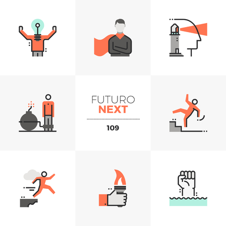 Modern flat icons set of success business leader, leadership skills. Unique color flat graphics elements with stroke lines. Premium quality vector pictogram concept for web, logo, branding, infographics. Illustration