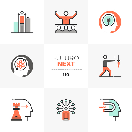 Modern flat icons set of business leader skills, personal development. Unique color flat graphics elements with stroke lines. Premium quality vector pictogram concept for web, logo, branding, infographics. Ilustrace