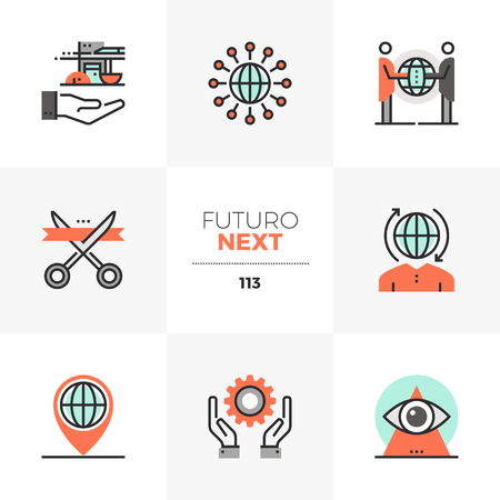 Modern flat icons set of global business cooperation, opening event. Unique color flat graphics elements with stroke lines. Premium quality vector pictogram concept for web, logo, branding, infographics.