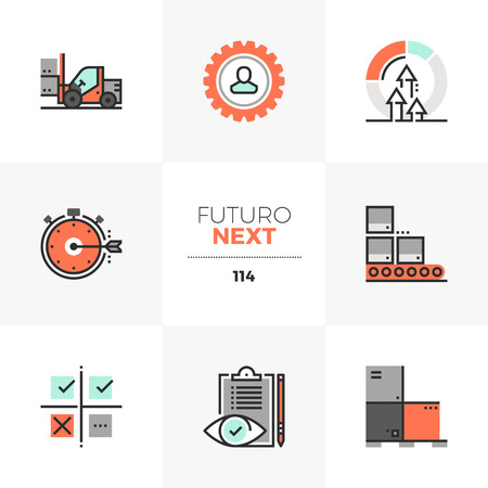 Modern flat icons set of lean manufacturing, quality control process. Unique color flat graphics elements with stroke lines. Premium quality vector pictogram concept for web, logo, branding, infographics. Stock Illustratie