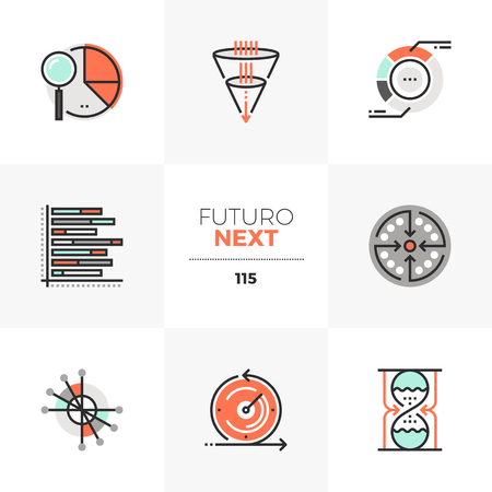 Modern flat icons set of visual data charts, visualization template. Unique color flat graphics elements with stroke lines. Premium quality vector pictogram concept for web, logo, branding, infographics.