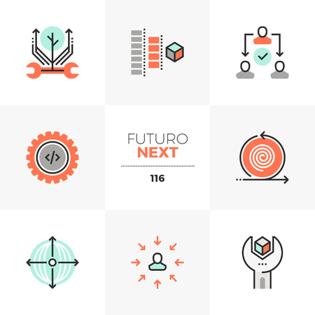Modern flat icons set of agile development, project production process. Unique color flat graphics elements with stroke lines. Premium quality vector pictogram concept for web, logo, branding, infographics.