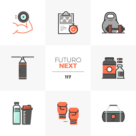 Modern flat icons set of weight lifting, sports nutrition container. Unique color flat graphics elements with stroke lines. Premium quality vector pictogram concept for web, logo, branding, infographics.
